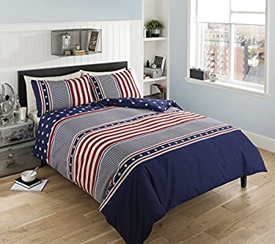 Pieridae Liberty Stars Stripe Duvet Bedding Quilt Cover Reversible Set - low-cost UK light store.
