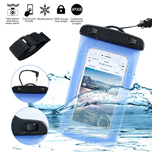 GAMURRY Custodia Impermeabile per attività all'Aperto - Borsa/Custodia Impermeabile per Smartphone - Certificata IPX8 Fino a 30 Metri di profondità (Blu)