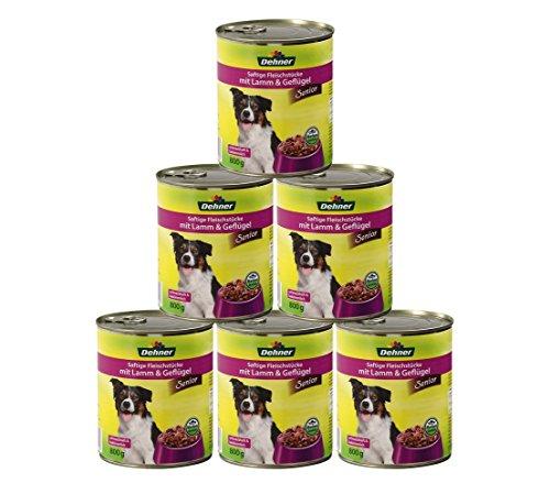 Dehner Hundefutter Senior, Lamm und Geflügel, 6 x 800 g (4800 g)