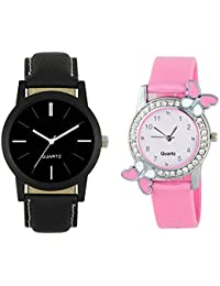 Swadesi Stuff Butterfly Pink & Black Color Leather Watch Combo Of 2 Couple Watches For Men & Women