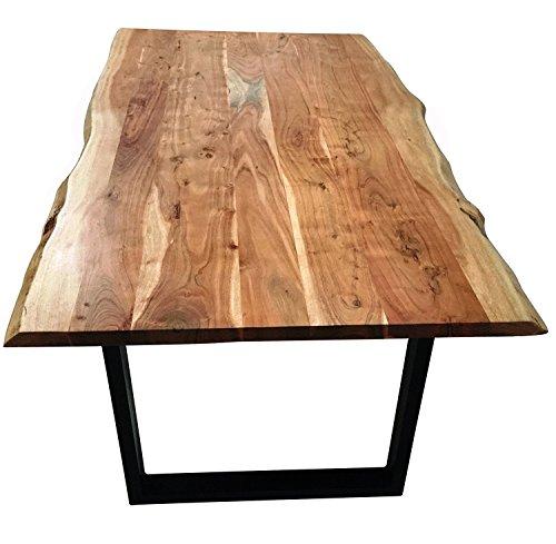 SAM® Stilvoller Esszimmertisch Quentin 140x80 cm aus Akazie-Holz, Tisch mit schwarz lackierten Beinen, Baum-Tisch mit naturbelassener Optik - 5