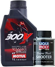 Motul 300V 10W40 Double Ester Technogoly Fully Synthetic Engine Oil for Bikes - 1 Lt and LiquiMoly Motorbike Engine Flush Shooter-80 Ml Combo