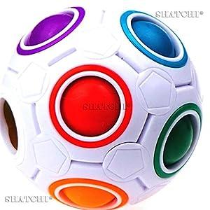 Shatchi 11014-FIDGET-BALL-3 piezas de 3 piezas de bolas mágicas arcoíris rompecabezas cubo fidget regalo de cumpleaños juguetes divertidos bolsa de fiesta rellenos, Multi