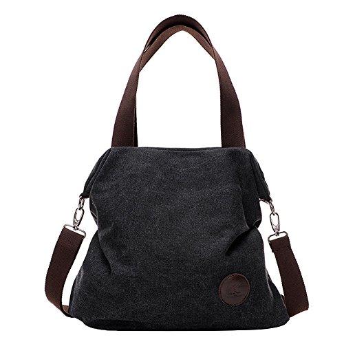 PB-SOAR Damen Canvas Tasche Schultertasche Handtasche Umhängetasche Shopper Beuteltasche 41x36x10cm (B x H x T), 5 Farben auswählbar (Schwarz)