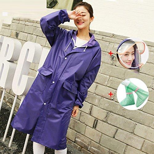GLJJQMY Impermeabile Adulto Impermeabile Poncho Moda Lady Impermeabile Giacca Lunga Impermeabile da Viaggio per Esterni Poncho Impermeabile Impermeabile (Color : E, Size : XL)