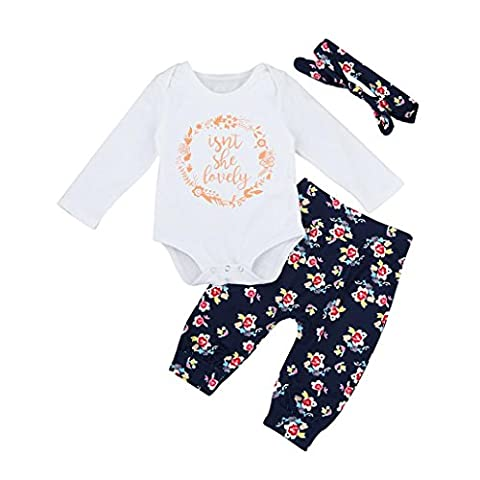 TIFIY Seasonal Selection Baby Clothes Outdoor Newborn Toddler Baby Boys Girls Outfits Clothes Letter Romper Pants 3pcs Set Roomwear (White,