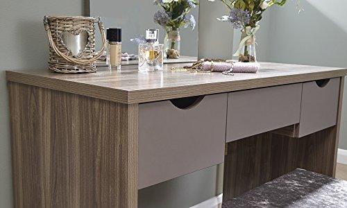 Home source tavolo da toeletta con sgabello e specchio con