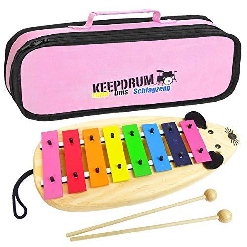 Sonor MG Xylophon Maus Kinder Glockenspiel + keepdrum MB01PK Tasche Pink