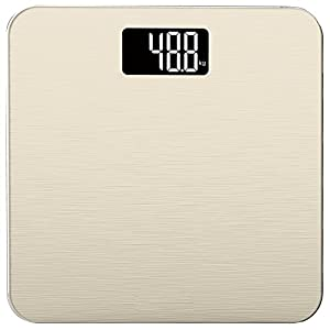 Smart Weigh Digital Body Weight Bathroom Scale, 180kg Capacity Step On High Accuracy Body Scale with Tempered Glass, Gold