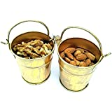 JAIPURCRAFT™ Mini Gold Plated Metal Vase Bucket Set of 2, Use for Dry Fruit Serving or ICE container.