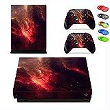 Xbox One X Skin Sticker, Morbuy Designfolie Vinyl-Folie Aufkleber für Konsole + 2 Controller Aufkleber Schutzfolie Set +10 pc Silikon Thumb Grips (Roter Stern)