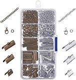 Ribbon Armband Kit Bookmark Pinch Crimp Ends Hummer Verschlüsse mit Sprung Ringe und Kette Extender, 370 Stück(Bronze und Silber)