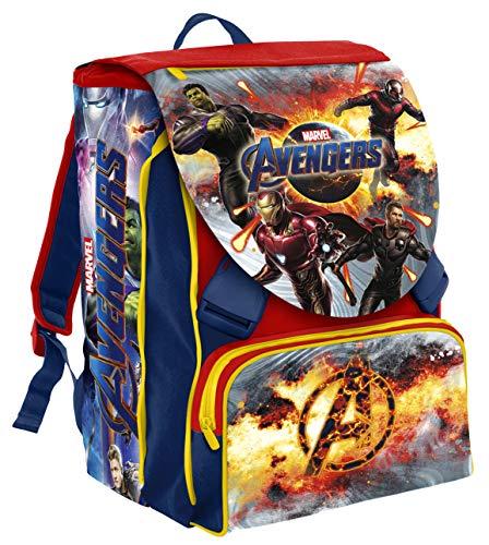 Seven zaino estensibile big marvel avengers, rosso e blu, 41 cm, 28 lt, con gadget abbinato