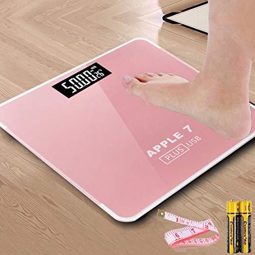 HiXB Körpergewicht Waage Hochpräzise Digitale Personenwaage Elektronische Waage USB-Aufladung,Pink,BatteryPowered
