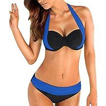 Las mujeres empujan hacia arriba el sujetador adornado Bandeau Bikini de cintura baja traje de baño traje de baño más el tamaño, Mujer Push-up Bikini Acolchado Bra Trajes de baño