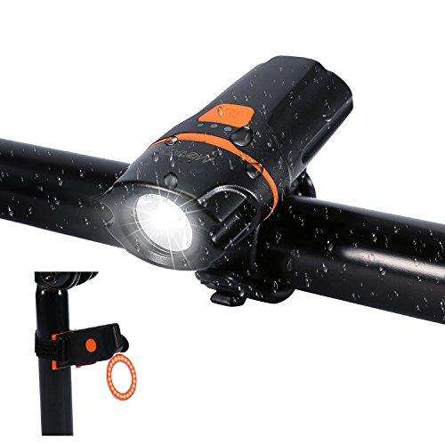 Luce bicicletta led,Set di luci per la bicicletta,Luce Bici Anteriore e Posteriore Ricaricabile USB Impermeabile, bicicletta illuminazione 2600mAh batteria al litio,luci Faro 500lm e fanale posteriore