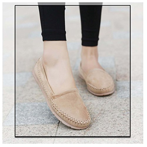 Women Bean Bean Shoes Ballet Soft Shoes Chaussure Ballerine Flat Slip On Jelly Chaussures de sécurité Apricot