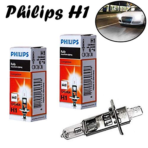 2x Philips Rally Vision H1 100W 12V 12454RAC1 P14,5s Super Bright hell Weiß White Ersatz Scheinwerfer Halogen Auto Lampe - Off-Road