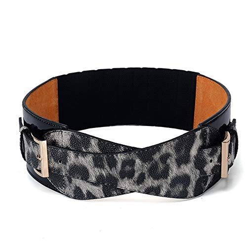 Cinturón de Moda Cinturón de Mujer Leopardo Cinturón Ancho Hebilla Señora Cinturón Decoración Todo fósforo Chaqueta Cintura elástica Gruesa para Damas niñas