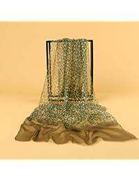 Prettystern - 180cm X 60cm 100% SEDA (crinkle georgette silk) Bufanda larga y liviana con estampado de leopardo- a elegir