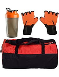 CP Bigbasket Combo Set Polyester Red Sport Gym Duffle Bag Shoe Compartmen, Gym Shaker (400 Ml), Netted Gym & Fitness... - B077R482QD