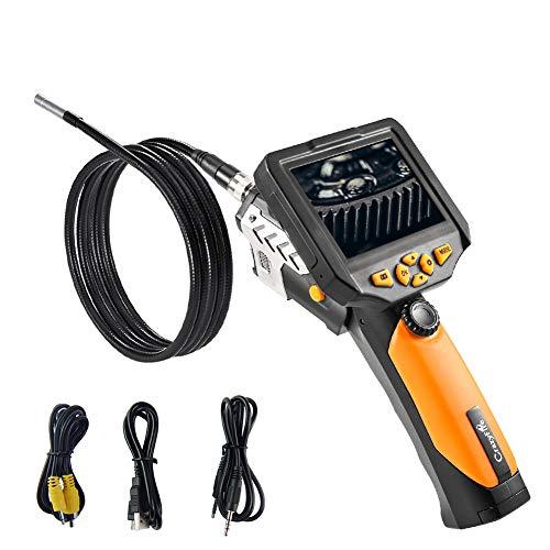 CrazyFire Digital Endoskop Inspektionskamera,Hand Endoskop Kamera 5 Meter Lang Kabel 8,2mm Durchmesser,3,5-Zoll-QVGA-LCD Wasserdichte Boreskop Video Kamera für Lüftungsrohr,Maschinenausrüstung