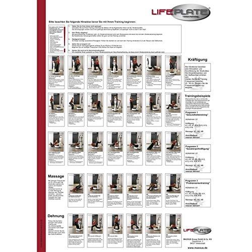 LifePlate Vibrationstraining Übungsposter Kräftigung, Fettabbau & Dehnübungen auf der Vibrationsplatte