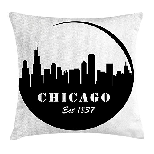 Chicago Skyline Throw Pillow Cushion Cover, American Town Famous Urban Design in Black I Love Chicago Architecture, Decorative Square Accent Pillow Case, 18 X 18 inches, Black and White