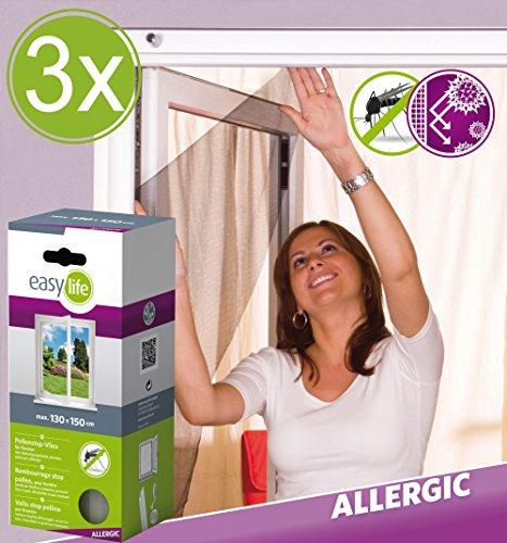 3er Set easy life Pollenschutz-Vlies Basic 130 x 150 cm in Weiß mit Klettband Pollenschutzvlies Pollenschutzgitter für Fenster Pollenfilter