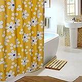 xiaodanhan Rideau De Douche Simple 3D en Bas Jaune Petit Motif Floral Séparateur De...