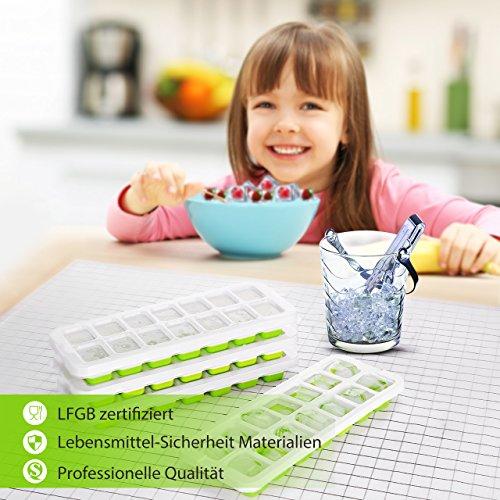 TOPELEK  4 Stücke Eiswürfelform, Einfache Entfernung der Eiswürfelformen, 14 Eiswürfel, Halten Sie das Getränk kühl, LFGB zertifiziert, lebensmittelechtes Material