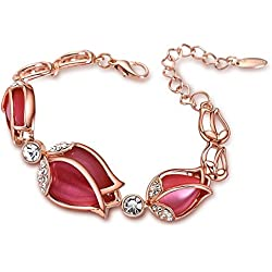Young & Forever Floral Odyssey 18K Rose Gold Plated Cubic Zirconia Sparkling Tulip Bracelet B268