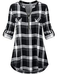 Odosalii Damen V-Ausschnitt Kariert Bluse 3/4 Ärmel Kurzarm Reißverschluss Tunika Longshirt Hemd Tops T-Shirt