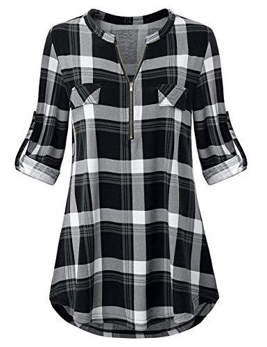 Odosalii Damen V-Ausschnitt Kariert Bluse 3/4 Ärmel Langarm Reißverschluss Tunika Longshirt Hemd Tops T-Shirt (X-Large, A_Schwarz Kariert_01)