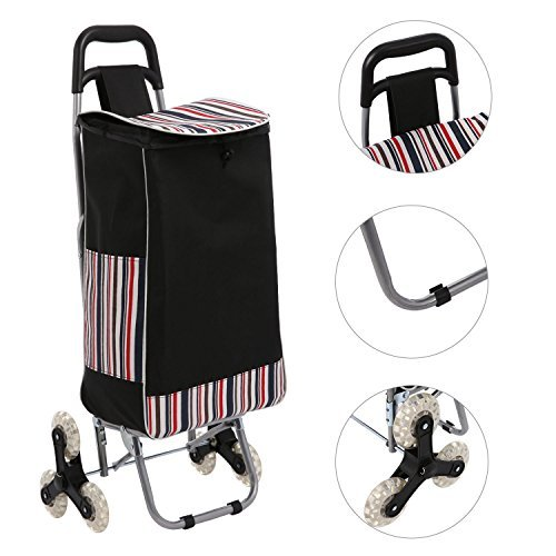Acecoree Einkaufstrolley faltbar, 2 in 1 Einkaufswagen mit Abnehmbarer Tasche, Größerer Speicherplatz bis zu 60KG, 33 x 18 x 54 cm
