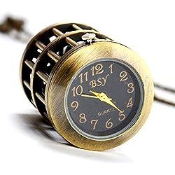 Jaula de Pájaros Reloj de bolsillo–boshiya Vintage cuarzo reloj de bolsillo con cadena de acero inoxidable para los hombres/mujeres