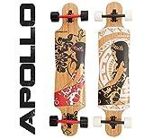 Apollo Longboard Hinano / Wulff / Nuku Hiva, Bambus Komplettboards, Twin-Tip Drop-Through Freeride Skaten Cruiser Board