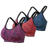 DAS Leben Sport BH Yoga BH starker Halt mit Polster ohne Bügel (3 Stücke) (XL, orangerot,fuchsien,blau)
