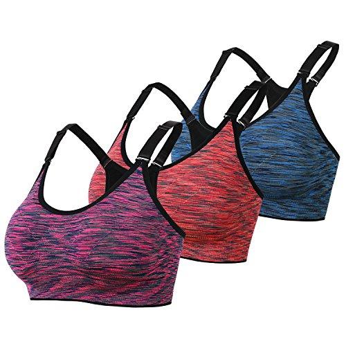 DAS Leben Sport BH Yoga BH starker Halt mit Polster ohne Bügel (3 Stücke) (XL, orangerot,fuchsien,blau) (Gleich Leben)