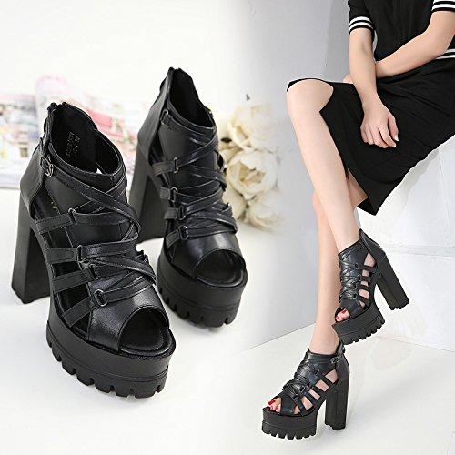 GTVERNH-le scarpe nere bocca di pesce high heeled spesso con i sandali croce cinghie sexy scarpe con una suola spessa impermeabile.,trentaquattro Thirty-four