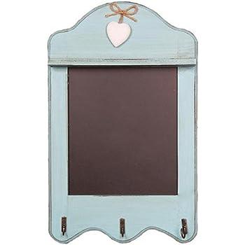 Lavagna da cucina in stile shabby chic, adatta come decorazione per la casa  Duck Egg Blue Scalloped with 3 Hooks