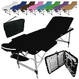 Linxor France ® Table de massage pliante 3 zones en aluminium + accessoires et housse de transport - Neuf coloris - Norme CE - Noir