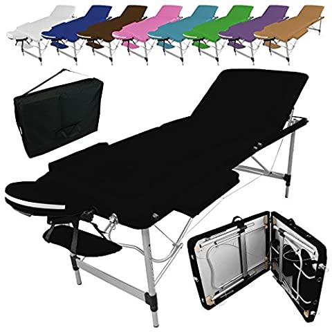 Linxor France ® Table de massage pliante 3 zones en aluminium + accessoires et housse de transport - Neuf coloris - Norme CE- Noir