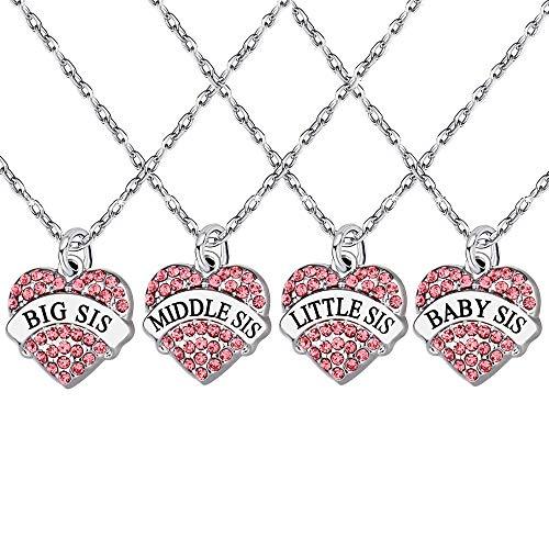 """Halsketten-Set mit Kristall-Herzanhänger (pink) für Schwestern, 4Stück, je mit Gravur: """"Big, Middle, Little, Baby Sister"""", Familiengeschenk für Frauen und Mädchen"""