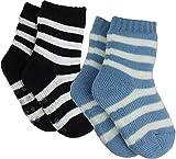 Baby Chunky Stripy Gripper Blue & Black Socks (2 Pack) (Baby Shoe Size 0-2 (EUR 15-18))