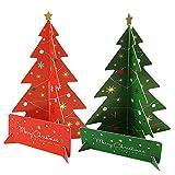 Boodtag 10 PCS 3D Carte de Voeux de Noël Carte des Sapins de Noël 3 Feuilles en Papier Carte Postale Cadeau Enfant (Lot de 10)