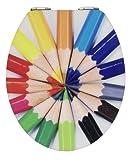 Wenko 21367100 - Tavoletta per WC in acrilico lucido, soggetto: pastelli colorati, chiusura rallentata automatica, coperchio 38 x 45 cm, anello esterno 37 x 43,5 cm, apertura 37 x 43,5 cm, distanza montaggio 11- 20,5 cm
