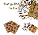 YPSelected Set von 13 Sheets Vintage Stamps Aufkleber Deco Aufkleber Papier Aufkleber Scrapbooking