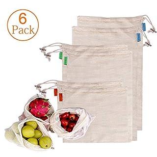 Aulola wiederverwendbare Produkttaschen, 6 Stück, Bio-Baumwolle, umweltfreundliche Aufbewahrungstaschen für Lebensmittel, Obst und Gemüse (6 Stück)