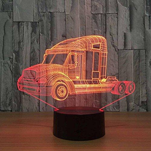Zcxbhd USB Lade 7 Farbwechsel 3D Illusion Effekt Utility Fahrzeug Nachtlicht, Kinder/Baby-Raum-Dekoration, Geburtstag/Urlaub Geschenke für Kinder -